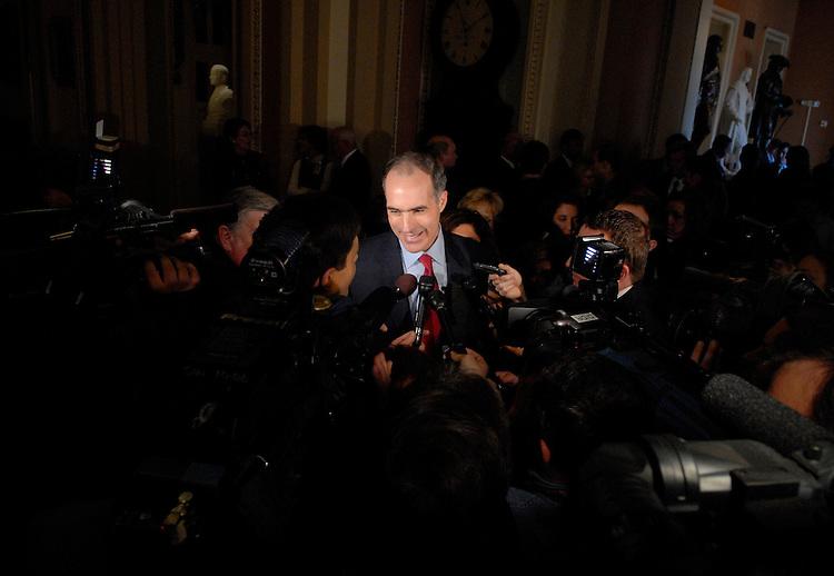 Sen. Bob Casey, D-Pa., speaks to the media in the Ohio Clock Corridor, after being sworn in to the 110th Congress at a mock swear-in ceremony in the Old Senate Chamber.