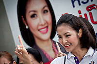 "YOLLANDA ""NOK"" SUANYOT makes her campaign signal with her supporters before she gives a speech to the army as she stands for elections in northern Nan province, Thailand. Known formerly as a beauty queen, is running today a political campaign for the local rule of Nan city. 30-year-old Yollada Suanyot, who was born a male, has become the first transgender to register as an election candidate. The upcoming elections will be held on May 27th in 24 constituencies in 15 districts. In accord with the Thai media this is the first time in Thailand that a transgender is taking part in a provincial election."