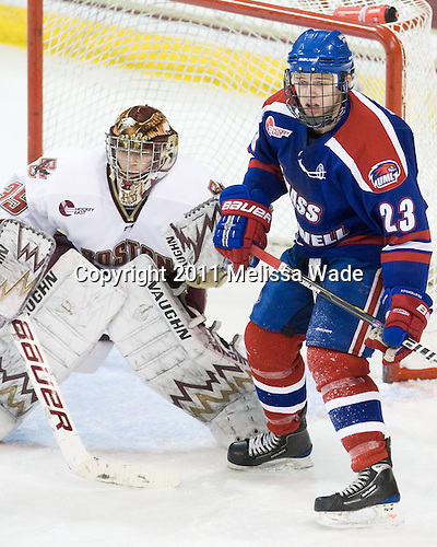 Parker Milner (BC - 35), Shayne Thompson (Lowell - 23) - The Boston College Eagles defeated the visiting University of Massachusetts-Lowell River Hawks 5-3 (EN) on Saturday, January 22, 2011, at Conte Forum in Chestnut Hill, Massachusetts.