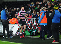 Cardiff Blues&rsquo; Alex Cuthbert leaves the pitch after being sin binned<br /> <br /> Photographer Kevin Barnes/CameraSport<br /> <br /> Guinness Pro14 Round 13 - Ospreys v Cardiff Blues - Saturday 6th January 2018 - Liberty Stadium - Swansea<br /> <br /> World Copyright &copy; 2018 CameraSport. All rights reserved. 43 Linden Ave. Countesthorpe. Leicester. England. LE8 5PG - Tel: +44 (0) 116 277 4147 - admin@camerasport.com - www.camerasport.com