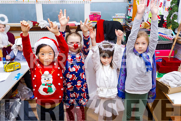 "Infants class from Moyderwell national school prepare for their ""Children of the World"" Christmas  play on Wednesday morning, l-r  Dorjee, Nadia Kozub, Cheryl Freimane and Laura Suska."