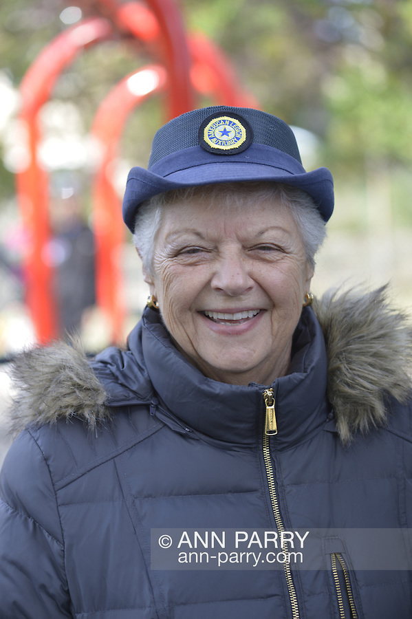 Merrick, New York, USA. October 29, 2016. A member of the Merrick American Legion Post 1282 Auziliary is at the 2016 annual Merrick Spooktacular hosted in part by the North and Central Merrick Civic Association (NCMCA). The ALA post sponsored the holiday party at Fraser Park.