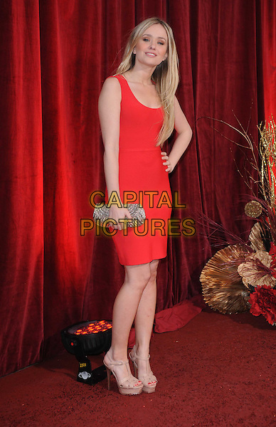 SAMMY WINWARD .Attending the British Soap Awards 2010, London Television Centre, London, England, UK, 8th May 2010.arrivals  full length red dress sleeveless clutch bag gold beige ysl platform shoes sandals hand on hip .CAP/DS.©Dudley Smith/Capital Pictures
