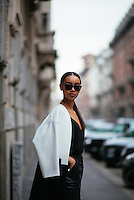 Sara Hadgu at Milan Fashion Week (Photo by Hunter Abrams/Guest of a Guest)
