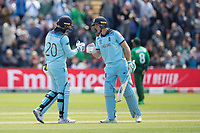 Jos Buttler (England) congratulates Jason Roy (England) on his 150 landmark during England vs Bangladesh, ICC World Cup Cricket at Sophia Gardens Cardiff on 8th June 2019
