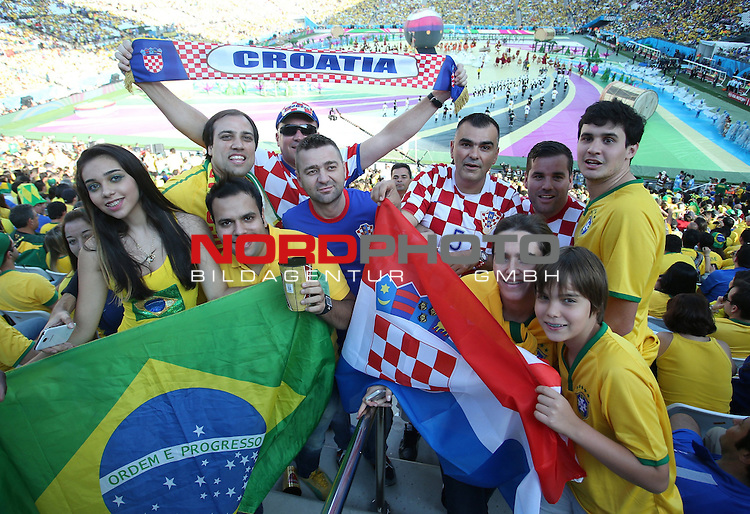 2014 Fifa World Cup opening ceremony at the Arena Corinthians in Sao Paulo. Croatian and Brazilian fans<br /> <br /> Foto &copy;  nph / PIXSELL / Sajin Strukic