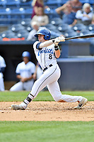 Asheville Tourists center fielder Will Golsan (8) swings at a pitch during a game against the Augusta GreenJackets at McCormick Field on April 7, 2019 in Asheville, North Carolina. The GreenJackets  defeated the Tourists 11-2. (Tony Farlow/Four Seam Images)