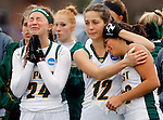 EASTON, MA - NOVEMBER 20: Kaycee Zelkovsky (24) of LIU Post cries as Grace Ilias (12) of LIU Post consoles Alyssa Lopresti (22) of LIU Post after losing to Shippensburg University 2-1 in the NCAA Division II Field Hockey Championship at WB Mason Stadium on November 20, 2016 in Easton, Massachusetts. (Photo by Winslow Townson/NCAA Photos via Getty Images)