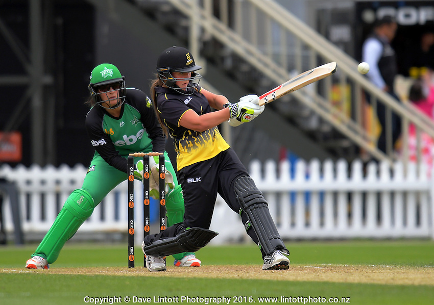 Amelia Kerr bats during the women's Basin Blast Twenty20  cricket match between the Wellington Blaze and Melbourne Stars at Hawkins Basin Reserve in Wellington, New Zealand on Wednesday, 7 December 2016. Photo: Dave Lintott / lintottphoto.co.nz