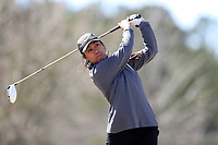 WALLACE, NC - MARCH 09: Anna Chanthaphaeng of USC Upstate tees off on the 13th hole of the River Course at River Landing Country Club on March 09, 2020 in Wallace, North Carolina.