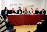 Roma 6 Maggio 2016<br /> Barbara Saltamartini, Turchese Baracchi, Giorgia Meloni, Mario Mauro, Irene Pivetti, Fabio Rampelli, Maurizio Irti.<br /> Presentazione delle liste a sostegno di Giorgia Meloni a Sindaca di Roma<br /> ROME, ITALY - May 06: <br /> Presentation of the lists in support of Giorgia Meloni to mayor of Rome at the headquarters of the electoral campaign.<br /> on May 6, 2016 in Rome, Italy.