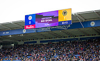 The Leicester City supporters celebrate as the Wolves goal is ruled a NO GOAL decision after a VAR review during the Premier League match between Leicester City and Wolverhampton Wanderers at the King Power Stadium, Leicester, England on 10 August 2019. Photo by Andy Rowland.