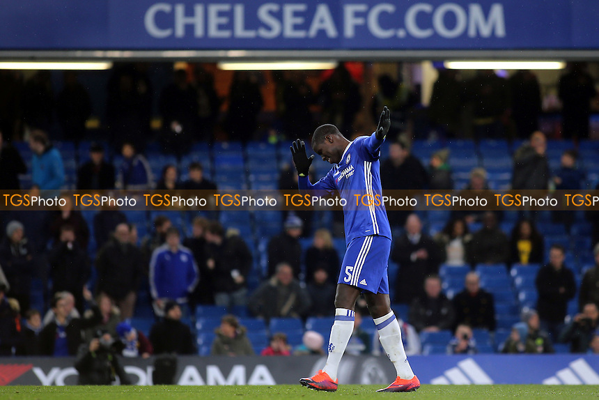 Chelsea's Kurt Zouma celebrates with a dab after scoring his first penalty during Chelsea Under-23 vs Oxford United, Checkatrade Trophy Football at Stamford Bridge on 8th November 2016