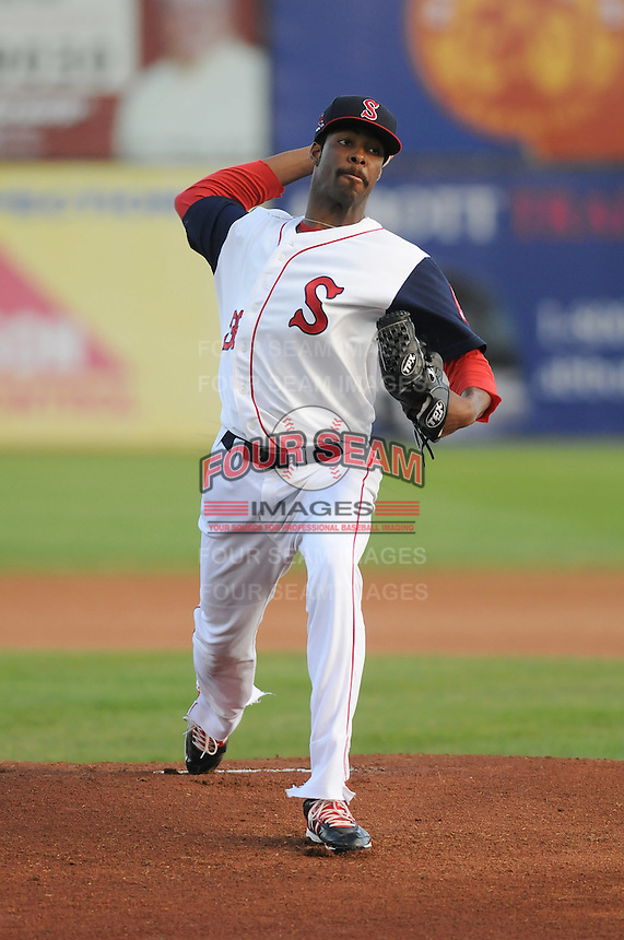 Pitcher Miguel Celestino (36) of the Salem Red Sox, a Boston Red Sox affiliate, in a game against the Winston-Salem Dash on June 6, 2012, at LewisGale Field in Salem, Virginia. Salem won, 4-1. (Tom Priddy/Four Seam Images)