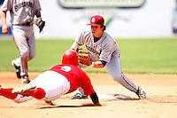 July 28, 2009:  Second Baseman Casey Frawley of the Mahoning Valley Scrappers during a game at Dwyer Stadium in Batavia, NY.  Mahoning Valley is the NY-Penn League Short-Season Class-A affiliate of the Cleveland Indians.  Photo By Mike Janes/Four Seam Images