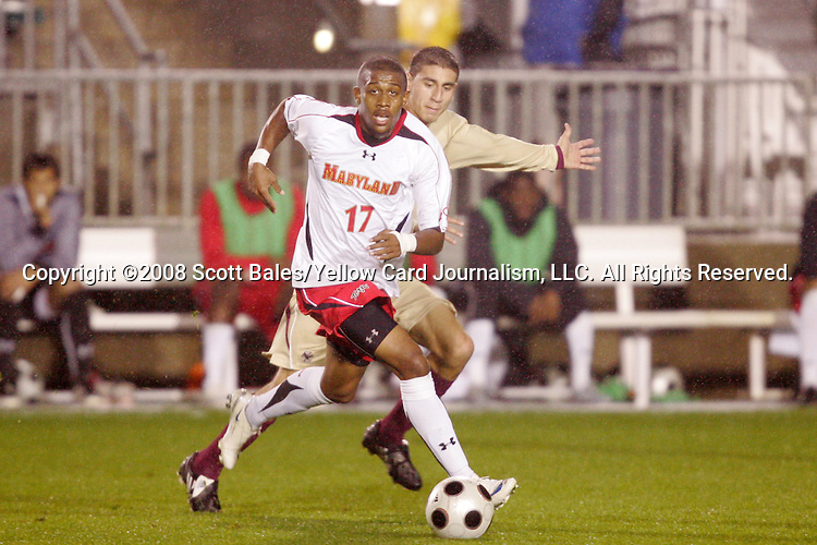 14 November 2008: Maryland's Jeremy Hall (17). The University of Maryland defeated Boston College 1-0 at WakeMed Stadium at WakeMed Soccer Park in Cary, NC in a men's ACC tournament semifinal game.