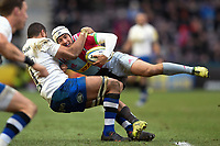 Demetri Catrakilis of Harlequins is tackled by Taulupe Faletau of Bath Rugby. Aviva Premiership match, between Harlequins and Bath Rugby on March 2, 2018 at the Twickenham Stoop in London, England. Photo by: Patrick Khachfe / Onside Images