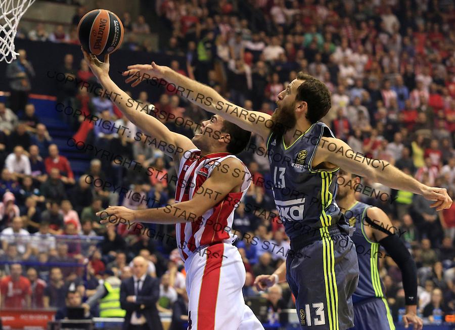 Kosarka Euroleague season 2015-2016<br /> Euroleague <br /> Crvena Zvezda v Real Madrid<br /> Nikola Rebic and Sergio Rodriguez (R)<br /> Beograd, 27.11.2015.<br /> foto: Srdjan Stevanovic/Starsportphoto &copy;