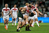 4th November 2017, Sydney Football Stadium, Sydney, Australia; Rugby League World Cup, England versus Lebanon; Elliott Whitehead of England is tackled by Jamie Clark of Lebanon