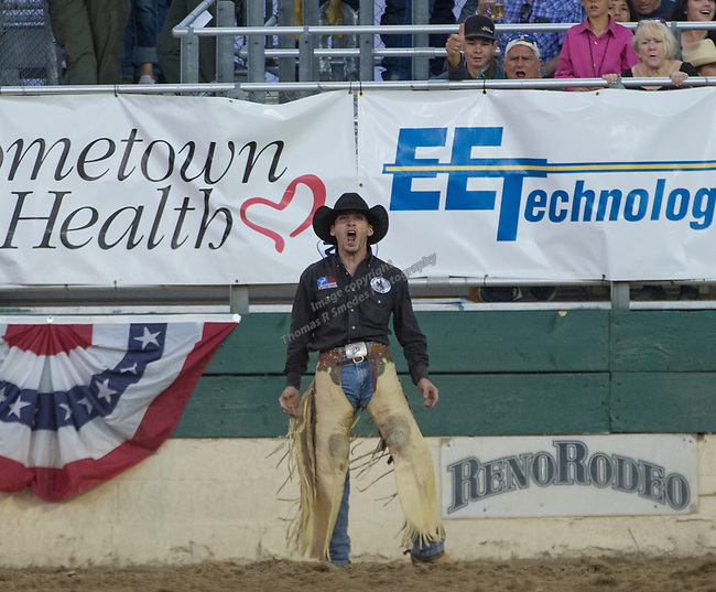 Joe Lufkin won the night's Saddle Bronc Riding event during the Reno Rodeo on Sunday, June 23, 2019.