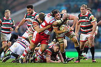 Dom Barrow of Leicester Tigers is tackled around the neck. Aviva Premiership match, between Leicester Tigers and Gloucester Rugby on February 11, 2017 at Welford Road in Leicester, England. Photo by: Patrick Khachfe / JMP