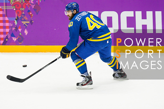Henrik Zetterberg of Sweden in action during the match between Sweden vs Czech Republic during their Men's Ice Hockey Preliminary Round Group C game on day five of the 2014 Sochi Olympic Winter Games at Bolshoy Ice Dome on February 12, 2014 in Sochi, Russia. Photo by Victor Fraile / Power Sport Images