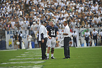 01 September 2012:  Penn State coach Bill O'Brien talks with QB Matt McGloin (1) during a time out.  The Ohio Bobcats defeated the Penn State Nittany Lions 24-14 at Beaver Stadium in State College, PA..