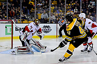 Tuesday, March 21, 2017: Boston Bruins defenseman Torey Krug (47) watches as his shot gets by Ottawa Senators goalie Craig Anderson (41) during the National Hockey League game between the Ottawa Senators and the Boston Bruins held at TD Garden, in Boston, Mass. Eric Canha/CSM