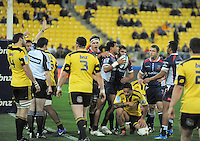 Referee Jonathon White awards a try to Cooper Vuna during the Super 15 rugby match between the Hurricanes and Rebels at Westpac Stadium, Wellington, New Zealand on Saturday, 26 May 2012. Photo: Dave Lintott / lintottphoto.co.nz