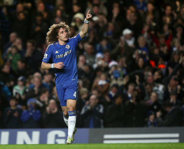 Chelsea's David Luiz celebrates scoring his sides second goal ..Football - Barclays Premiership - Chelsea v Aston Villa - Sunday 23rd December 2012 - Stamford Bridge - London..