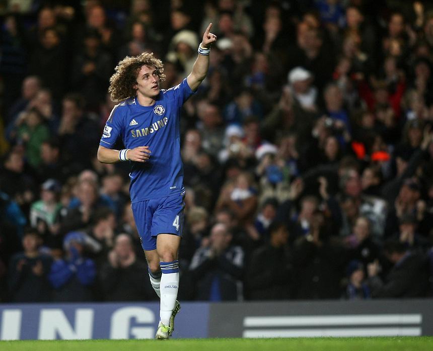 Chelsea's David Luiz celebrates scoring his sides second goal ..Football - Barclays Premiership - Chelsea v Aston Villa - Sunday 23rd December 2012 - Stamford Bridge - London..