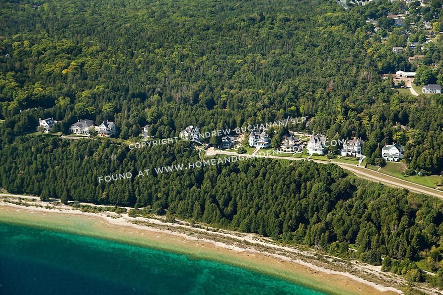 houses and shoreline along Lake Shore Drive, Mackinac Island, Michigan