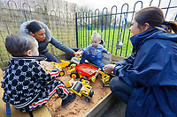 Pictured: Two toddlers play in the sand pit. Thursday 21 March 2019<br /> Re: Julie Morgan, AM, has met parents at Twinkle Star playgroup before new legislation is brought in by the Welsh Government to ban parents from smacking children, Cardiff, Wales, UK.