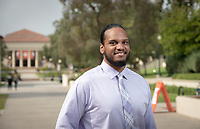 Cameron Peters '18 is an urban and environmental studies major at Oxy and is Occidental College's first Obama Scholars Fellow. Profile photo taken Sept. 19, 2017 in the Academic Quad.<br /> (Photo by Marc Campos, Occidental College Photographer)