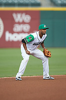 Caballeros de Charlotte shortstop Alcides Escobar (2) on defense against the Buffalo Bisons at BB&T BallPark on July 23, 2019 in Charlotte, North Carolina. The Bisons defeated the Caballeros 8-1. (Brian Westerholt/Four Seam Images)