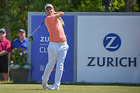 Emiliano Grillo (ARG) watches his tee shot on 18 during Round 2 of the Zurich Classic of New Orl, TPC Louisiana, Avondale, Louisiana, USA. 4/27/2018.<br /> Picture: Golffile | Ken Murray<br /> <br /> <br /> All photo usage must carry mandatory copyright credit (&copy; Golffile | Ken Murray)