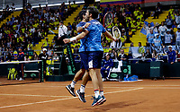 BOGOTA, COLOMBIA - MARCH 7: Horacio Ceballos and Maximiliano Gonzalez of Argentina, celebrates after win a point during their match against Robert Farah and Sebastian Cabal of Colombia during the game 3 of their Copa Davis 2020 in Bogota Colombia on March 7, 2020. (Photo by Leonardo Munoz/VIEWpress via Getty Images)