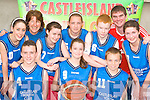 Castleisland Youth club basketball team that will compete in the All Ireland final in University of Limerick on Saturday front row l-r: Chris Kerley, Seadhbh O'Connor, Paul Nelligan. Back row: Aoife O'Sullivan, Sheila Kerley, Elaine Doody, Rachel Templeman, Eoin Murphy, Neil O'Sullivan and Roisin O'Connor