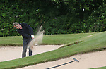 Actor Philip Glenister hits from the sand on the 9th hole.<br /> Celebrity Cup Golf<br /> Celtic Manor Resort<br /> 04.07.14<br /> &copy;Steve Pope-SPORTINGWALES