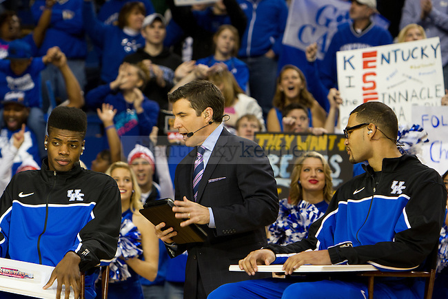 Nerlens Noel (Left) and Willie Cauley-Stein participated in a skit with Rece Davis (Center) during ESPN College Gameday in Lexington, Ky., on Saturday, February 23, 2013. Photo by Matt Burns | Staff