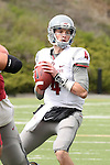 Luke Falk looks for an open receiver down field during the annual Washington State Cougar spring game, the Crimson and Gray game, at Joe Albi Stadium in Spokane, Washington, on April 25, 2015.