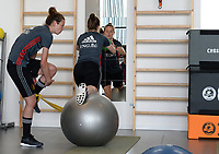 20170608 – TUBIZE , BELGIUM : illustration picture shows a part of the red flames team with Nicky Van Den Abbeele (left) and Diede Lemey (middle) during a fitness and physical session at the fitnessroom of the Belgian national women's soccer team Red Flames trainingscamp to prepare for the Women's Euro 2017 in the Netherlands, on Thursday 8 June 2017 in Tubize.  PHOTO SPORTPIX.BE | DAVID CATRY