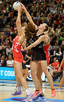 10.09.2017 Silver Ferns Katrina Grant and England's Helen Housby in action during the Taini Jamison Trophy match between the Silver Ferns and England at Pettigrew Green Arena in Napier. Mandatory Photo Credit ©Michael Bradley.