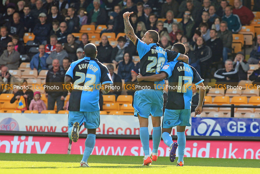 Wycombe celebrate their first half goal scored by Joel Grant  - Port Vale vs Wycombe Wanderers - NPower League Two Football at Vale Park - 20/10/12 - MANDATORY CREDIT: Paul Dennis/TGSPHOTO - Self billing applies where appropriate - 0845 094 6026 - contact@tgsphoto.co.uk - NO UNPAID USE.