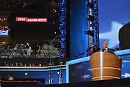 September 6, 2012  (Charlotte, North Carolina) President Barack Obama accepts the Democratic party's re-nomination on the last night of the 2012 Democratic National Convention In Charlotte.   (Photo by Don Baxter/Media Images International)