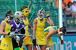 The Hague, Netherlands, June 09: Players of Australia prepare for a penalty corner during the field hockey group match (Women - Group A) between England and Argentina on June 9, 2014 during the World Cup 2014 at Kyocera Stadium in The Hague, Netherlands. Final score 0-0 (0-0)  (Photo by Dirk Markgraf / www.265-images.com) *** Local caption *** (2L-R) Rachael Lynch #27 of Australia, Anna Flanagan #9 of Australia, Casey Eastham #4 of Australia, Karri McMahon #11 of Australia