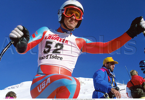 BILL JOHNSON (USA), Men's Downhill, Val d'Isere, 8712. Photo: Leo Mason/Action Plus...1987.alpine skiing.portrait.winter sport.winter sports.wintersport.wintersports.ski.skier.man