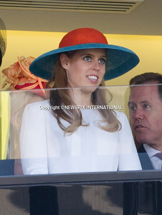 18.06.2015; Ascot, UK: ROYAL ASCOT LADIES DAY 2015 - PRINCESS BEATRICE<br /> attend Ladies Day of the Royal Ascot Race Meeting.<br /> Mandatory Photo Credit: &copy;Dias/NEWSPIX INTERNATIONAL<br /> <br /> **ALL FEES PAYABLE TO: &quot;NEWSPIX INTERNATIONAL&quot;**<br /> <br /> PHOTO CREDIT MANDATORY!!: NEWSPIX INTERNATIONAL(Failure to credit will incur a surcharge of 100% of reproduction fees)<br /> <br /> IMMEDIATE CONFIRMATION OF USAGE REQUIRED:<br /> Newspix International, 31 Chinnery Hill, Bishop's Stortford, ENGLAND CM23 3PS<br /> Tel:+441279 324672  ; Fax: +441279656877<br /> Mobile:  0777568 1153<br /> e-mail: info@newspixinternational.co.uk