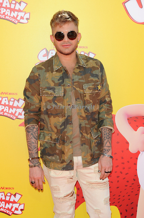 Adam Lambert arriving at the Los Angeles premiere of Captain Underpants, held at the Regency Village Theater in Westwood California on May 21, 2017