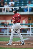 Idaho Falls Chukars Hector Pineda (3) at bat during a Pioneer League game against the Orem Owlz at The Home of the OWLZ on August 13, 2019 in Orem, Utah. Orem defeated Idaho Falls 3-1. (Zachary Lucy/Four Seam Images)